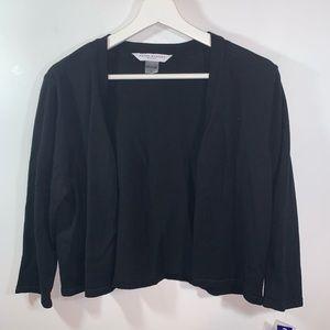 Peter Nygard Petite L Black Cropped Sweater NWT